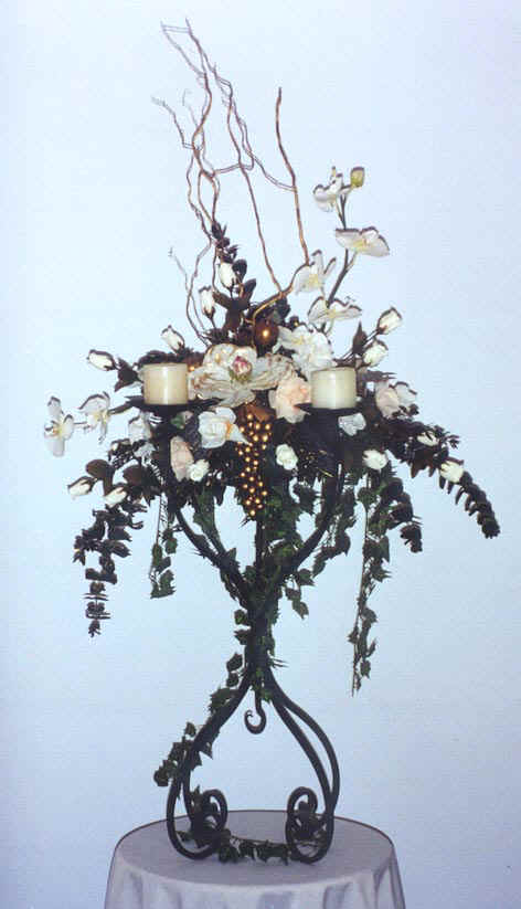 Four Candle with Centre Floral Dish