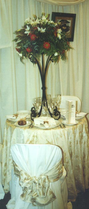 Floral Stand Table Setting